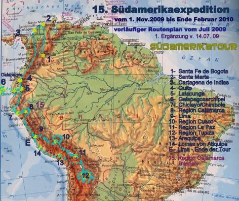 Vorläufiger Routenplan der 15. Tour