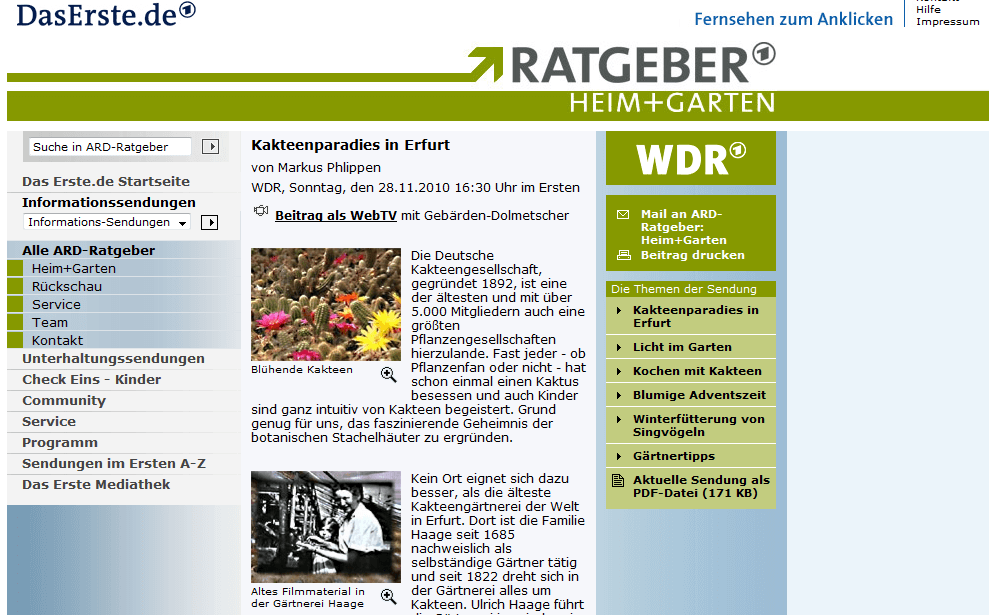 Heute Nachmittag ARD Ratgeber Kakteen