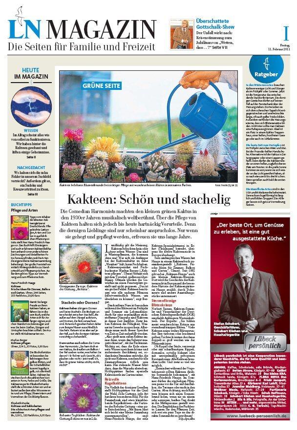Kakteen in den Lübecker Nachrichten
