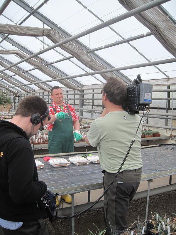 gebadet beim Gartenhandschuh-Test für mdrTV